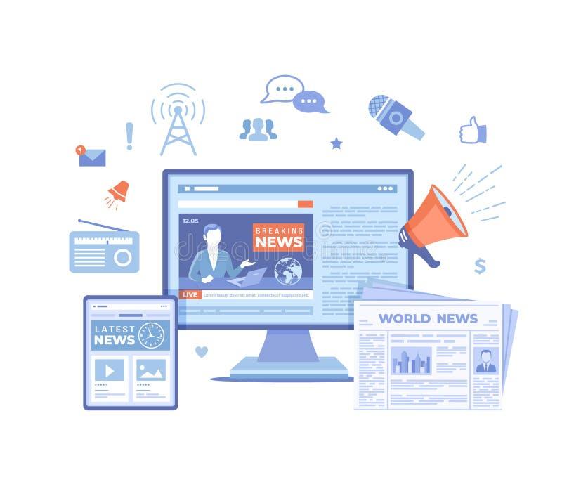 Nieuwsupdate, Online nieuws Brekende nieuwswebsite met omroep op het monitor en tabletscherm, krant, radio informatie vector illustratie