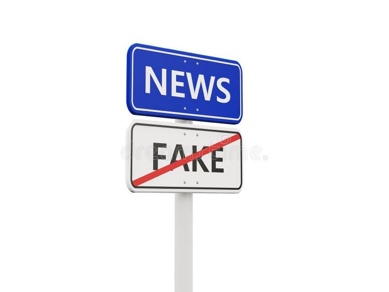 Nieuwsverkeersteken tegengesteld aan valse tekens royalty-vrije illustratie