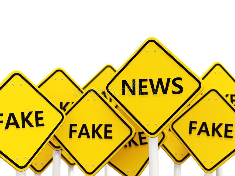 Nieuwsverkeersteken tegengesteld aan valse tekens stock illustratie