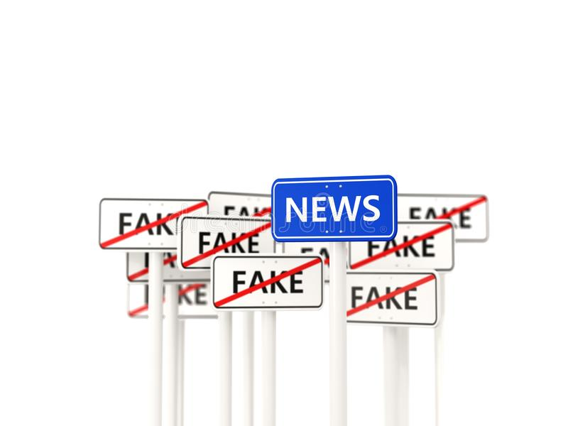 Nieuwsverkeersteken tegengesteld aan valse tekens vector illustratie