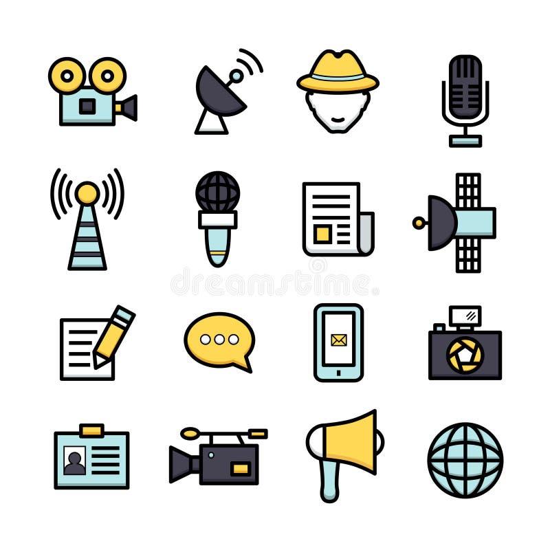Nieuwsverslaggever Icons stock illustratie