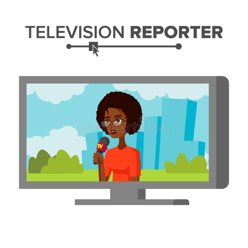 Nieuwsverslaggever Vector Mooie Glimlachende Vrouwelijke Televisieverslaggever Geïsoleerd op de Witte Illustratie van het Beeldve vector illustratie