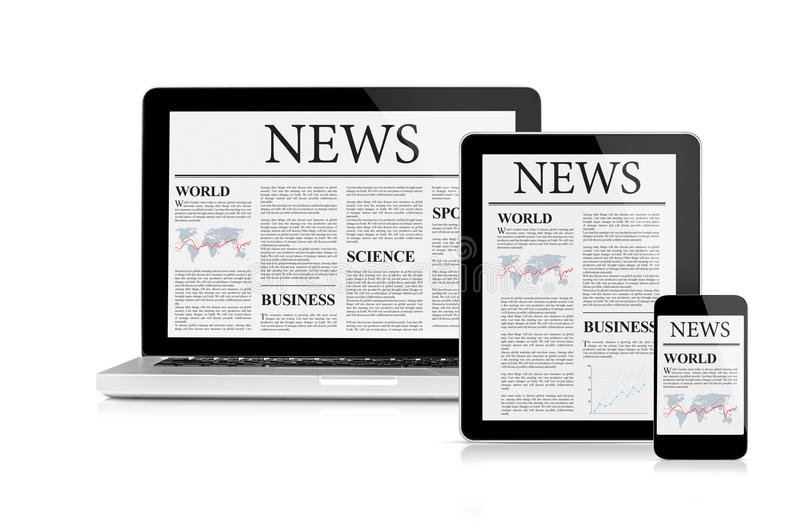 Nieuwsvoer op mobiele apparaten royalty-vrije illustratie