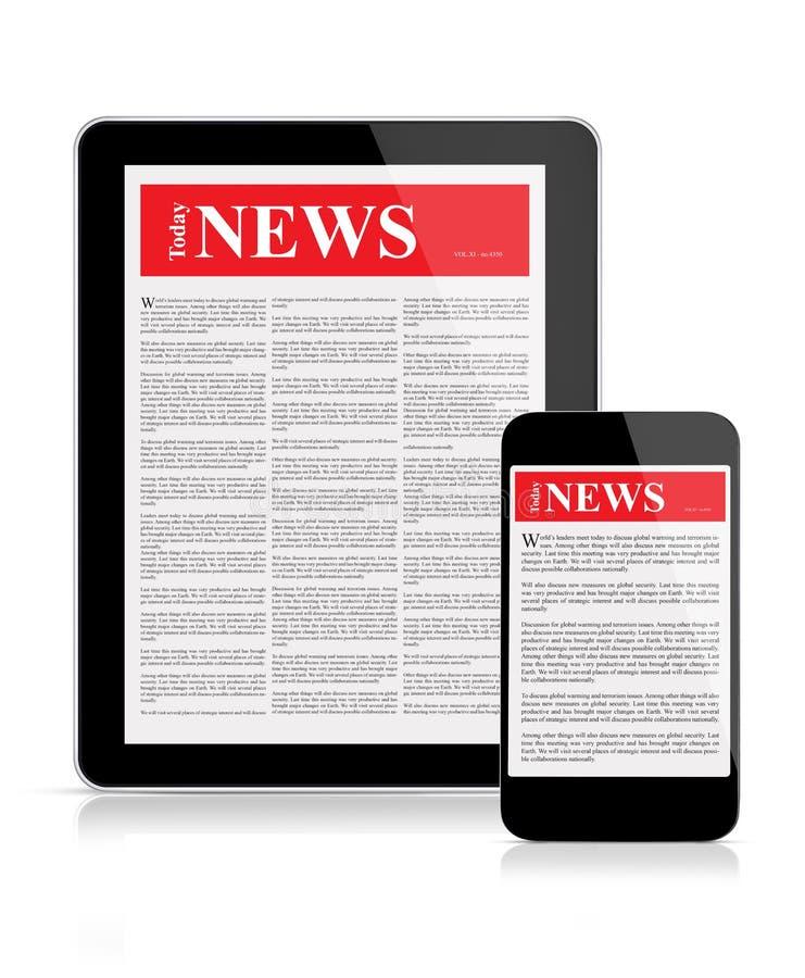 Nieuwsvoer op mobiele apparaten stock illustratie