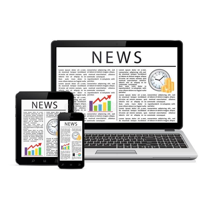 Nieuwsvoer op moderne mobiele apparaten royalty-vrije illustratie