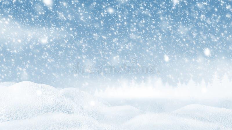 Nieve acumulada por la ventisca con la nieve que cae en el ejemplo del fondo 3D de la Navidad del winer stock de ilustración