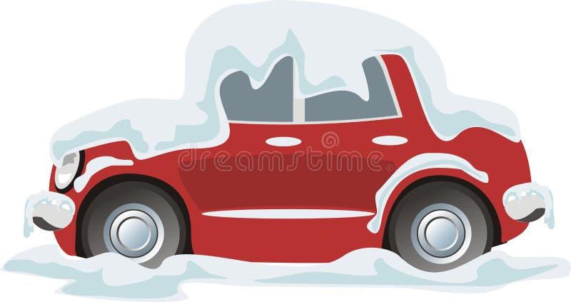 nieve acumulada por la ventisca del coche ilustración del vector