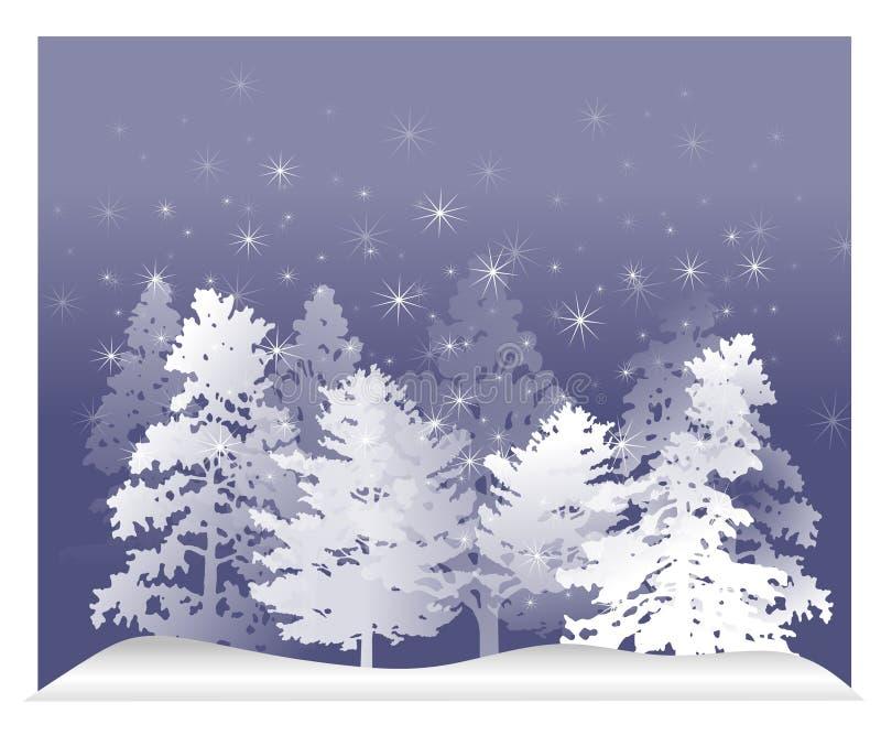 Nieve blanca 2 de los árboles del invierno ilustración del vector