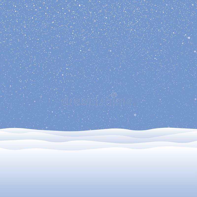 Nieve blanca del vector que cae en fondo azul ilustración del vector