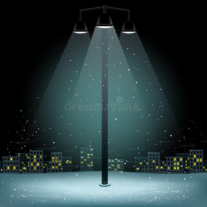 Nieve de la lámpara del pilar de la ciudad de la Navidad stock de ilustración