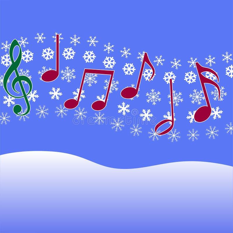 Nieve de la música del villancico de la Navidad stock de ilustración