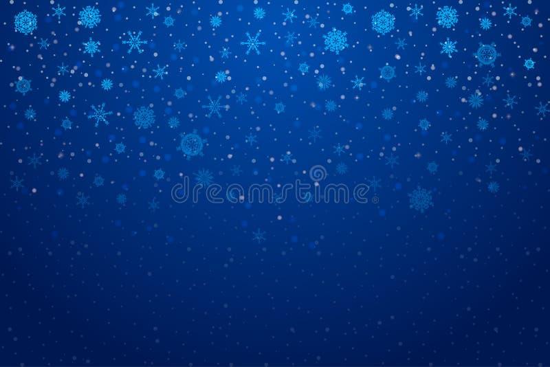 Nieve de la Navidad Copos de nieve que caen en fondo azul profundo libre illustration