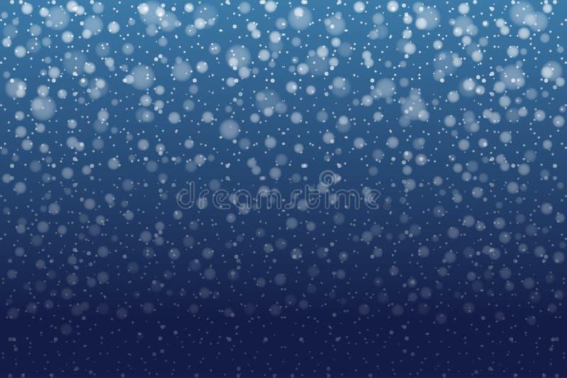 Nieve de la Navidad Copos de nieve que caen en fondo azul profundo nieve libre illustration