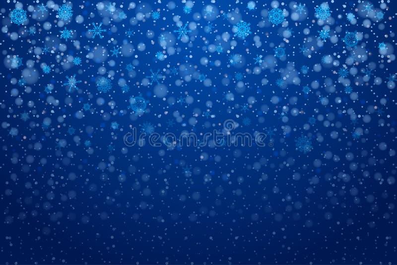 Nieve de la Navidad Copos de nieve que caen en fondo azul profundo nieve ilustración del vector