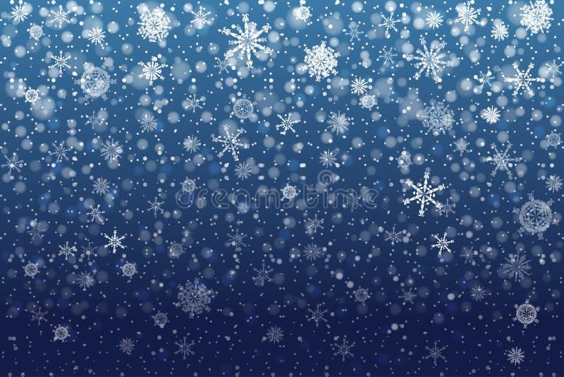 Nieve de la Navidad Copos de nieve que caen en fondo azul profundo nieve stock de ilustración