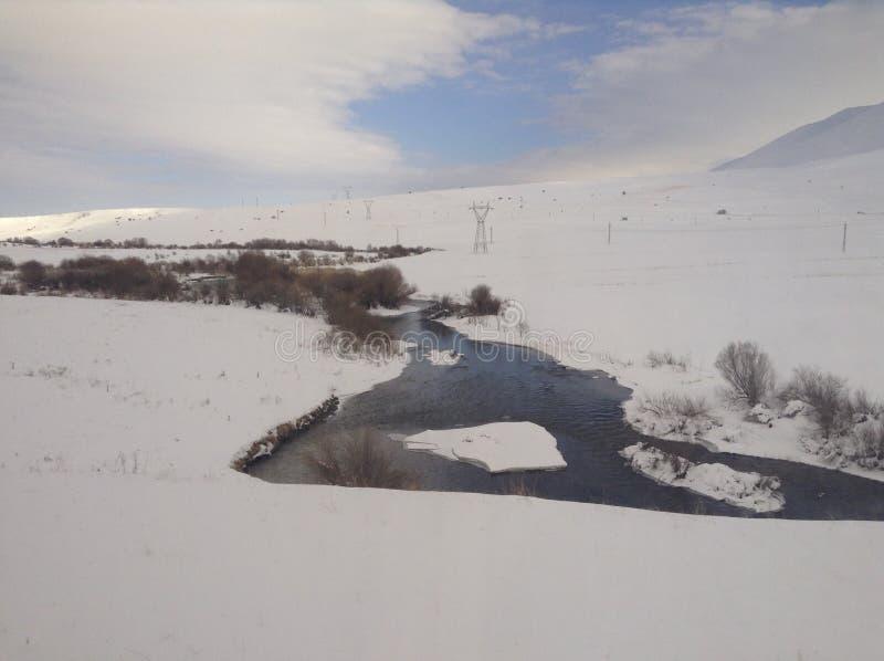 Nieve de la reunión de los ríos foto de archivo