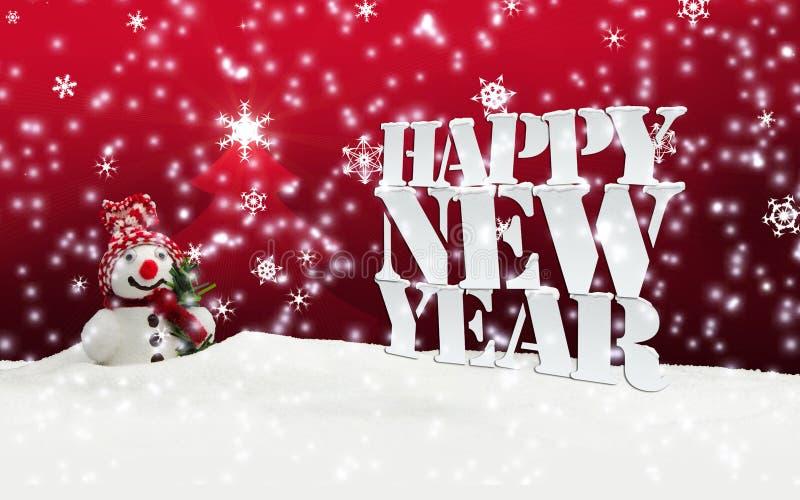 Nieve del invierno de la Navidad de la Feliz Año Nuevo stock de ilustración
