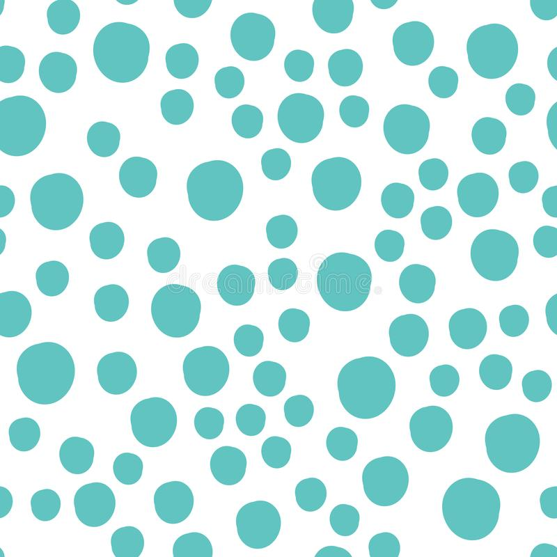 Nieve Dots Asymmetrical Seamless Pattern dibujado mano, suizo punteado del invierno ilustración del vector