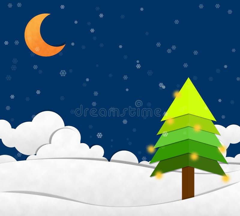 Nieve en cielo nocturno y Crescent Moon ilustración del vector