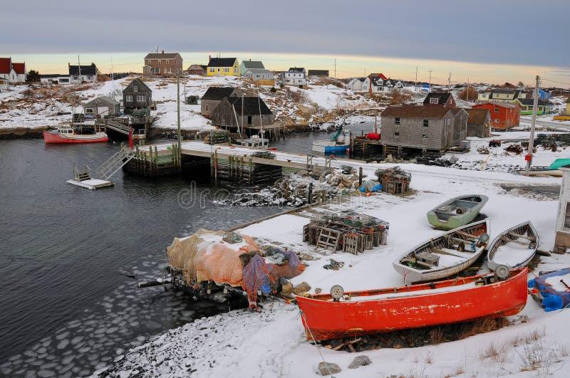 Nieve en el puerto fotografía de archivo libre de regalías