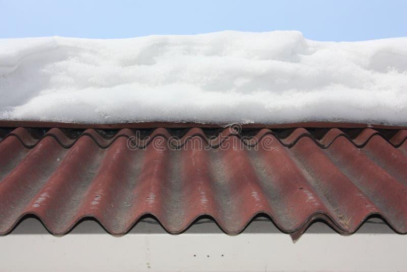 Nieve en el tejado alto foto fotografía de archivo