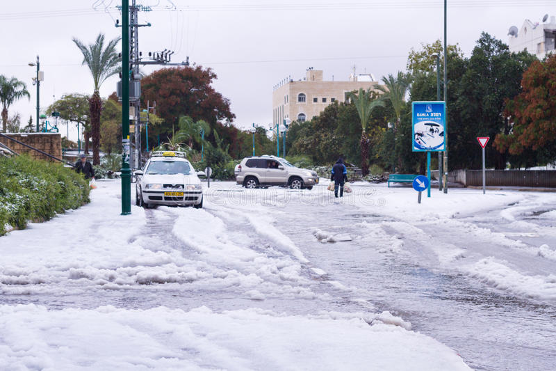 Nieve en Israel. 2013. foto de archivo libre de regalías