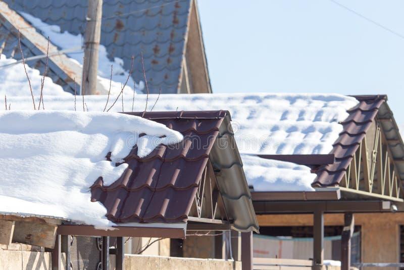 Nieve en la azotea foto de archivo libre de regalías