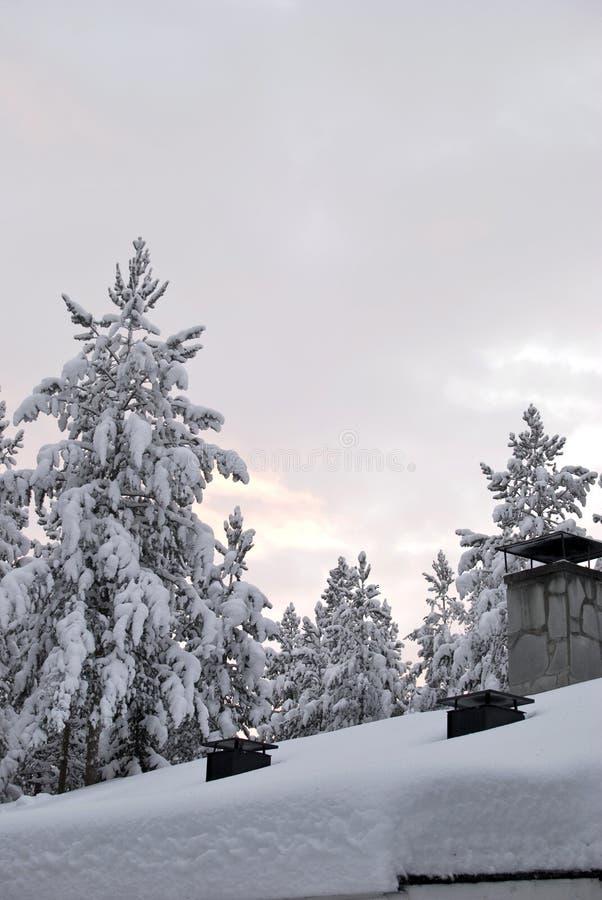 Nieve en la azotea fotografía de archivo libre de regalías