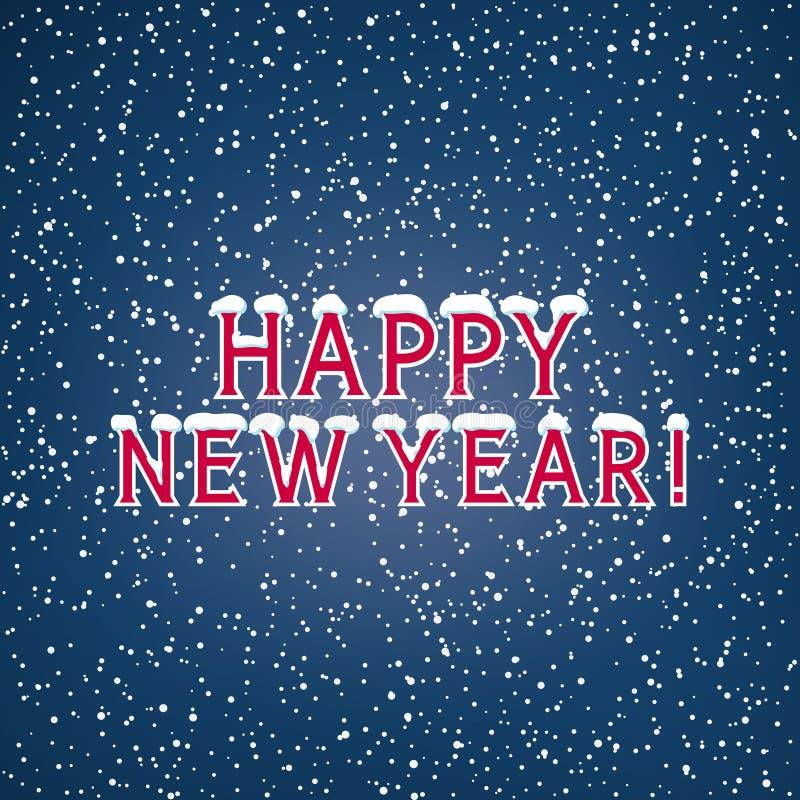 Nieve en la Feliz Año Nuevo de las letras stock de ilustración