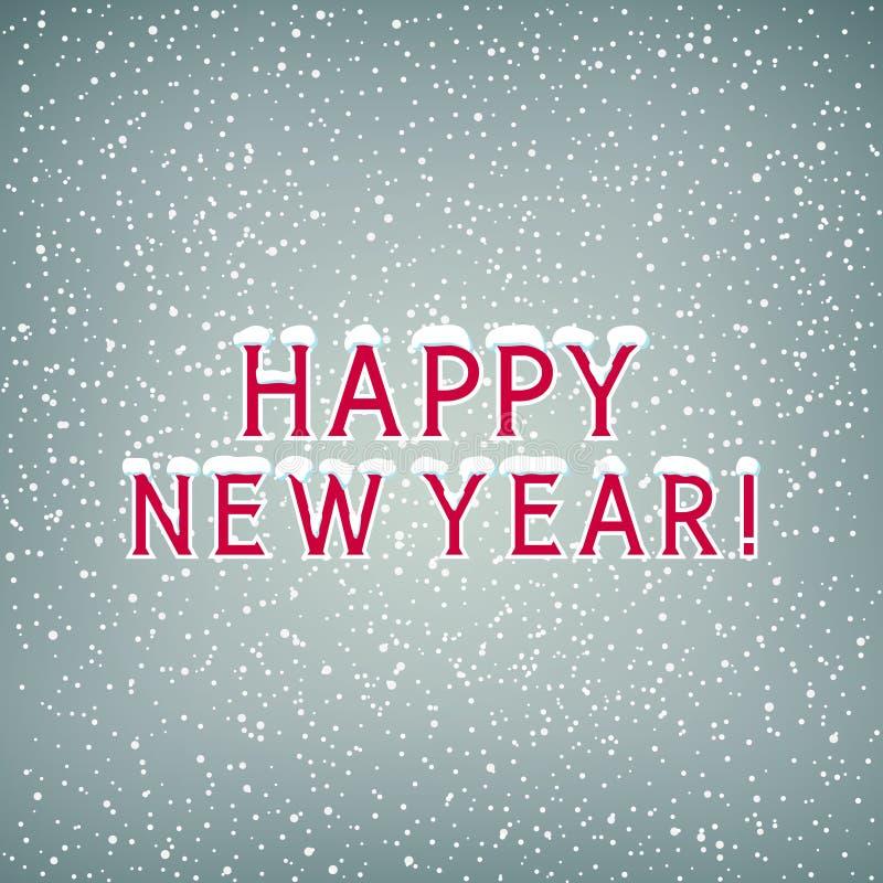 Nieve en la Feliz Año Nuevo de las letras ilustración del vector