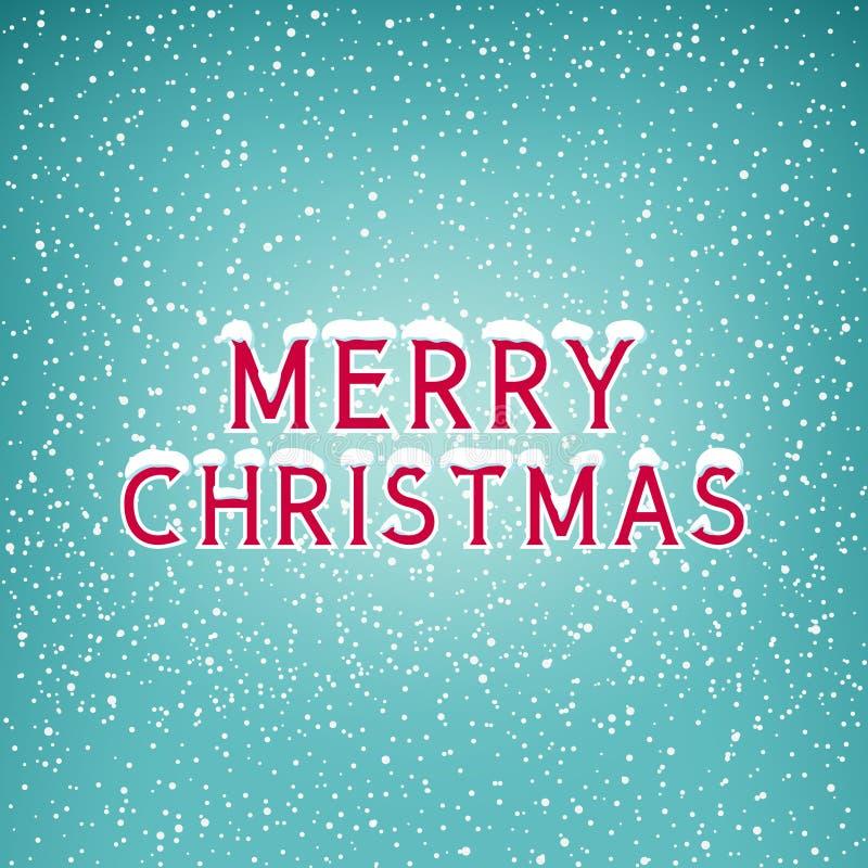 Nieve en la Feliz Navidad de las letras ilustración del vector