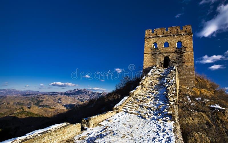Nieve en la Gran Muralla foto de archivo
