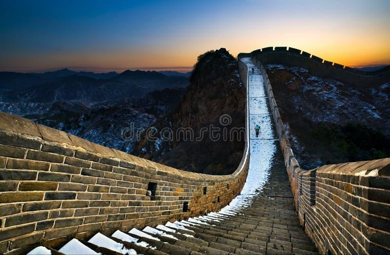 Nieve en la Gran Muralla imagen de archivo