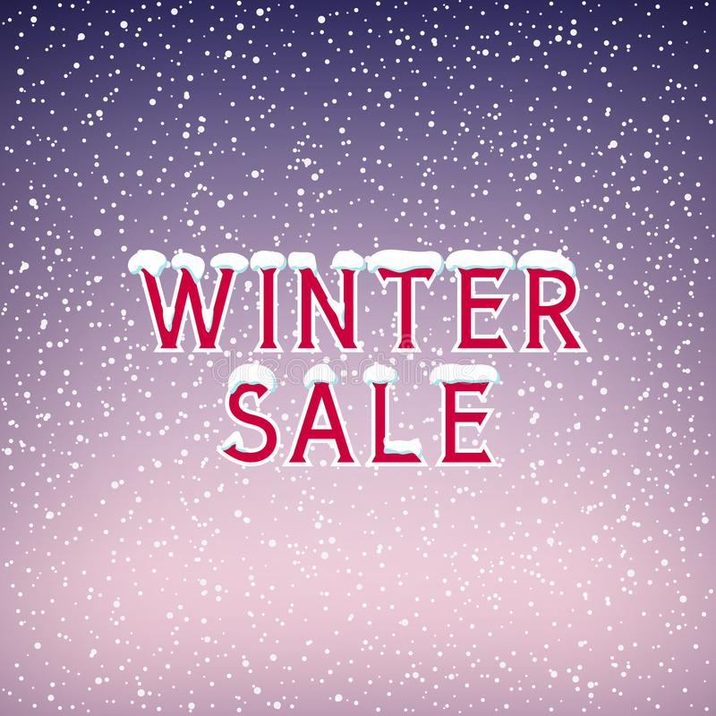 Nieve en la venta del invierno de las letras libre illustration