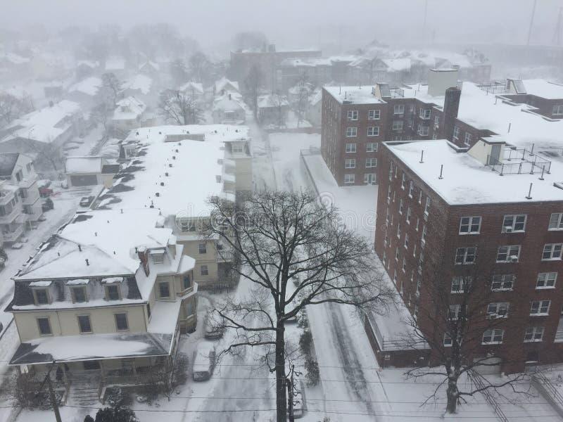 Nieve en Stamford, Connecticut foto de archivo libre de regalías
