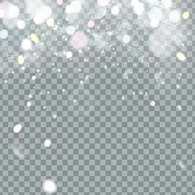 Nieve hermosa brillante de la Navidad que cae aislada en fondo transparente Copos de nieve, nevadas Vector del copo de nieve libre illustration