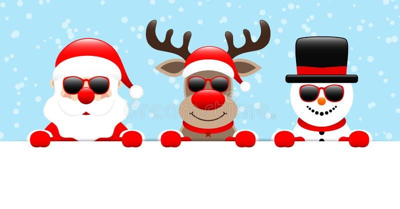 Nieve horizontal de la bandera de Santa Reindeer And Snowman Sunglasses azul clara libre illustration