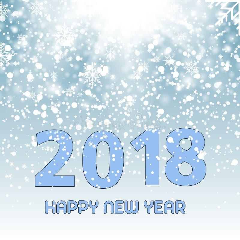 Nieve o copos de nieve brillantes que caen en el fondo azul para la Navidad Vector Feliz Año Nuevo 2018 ilustración del vector