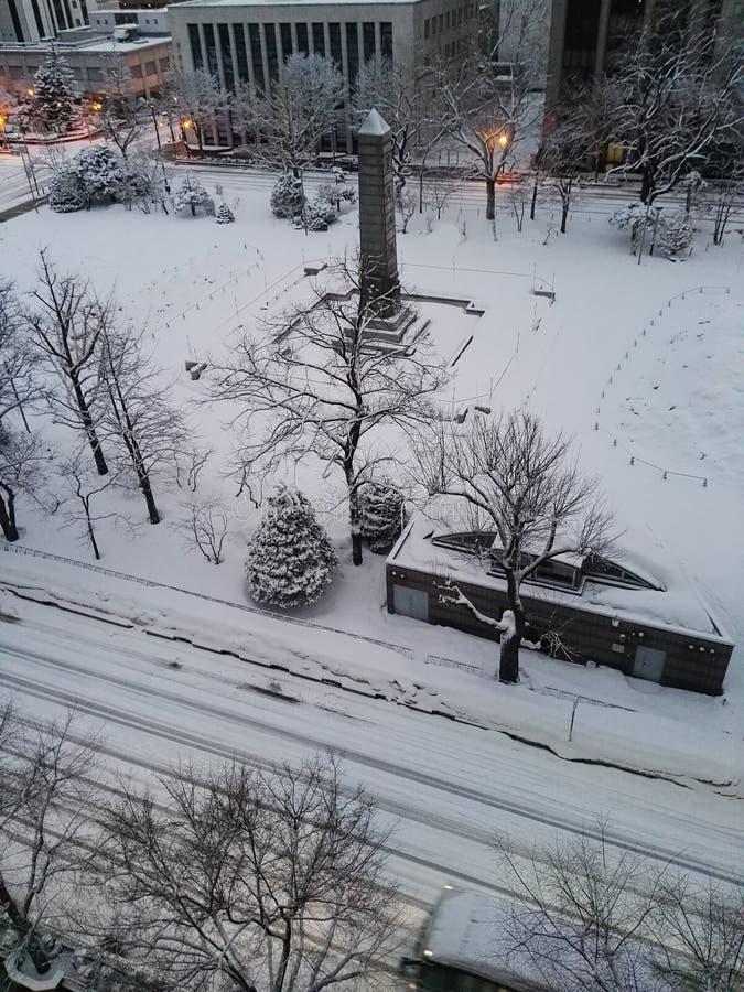 Nieve por la mañana en Supporo Hokkaido imagen de archivo libre de regalías