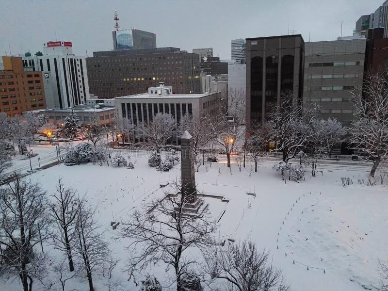 Nieve por la mañana en Supporo Hokkaido foto de archivo libre de regalías