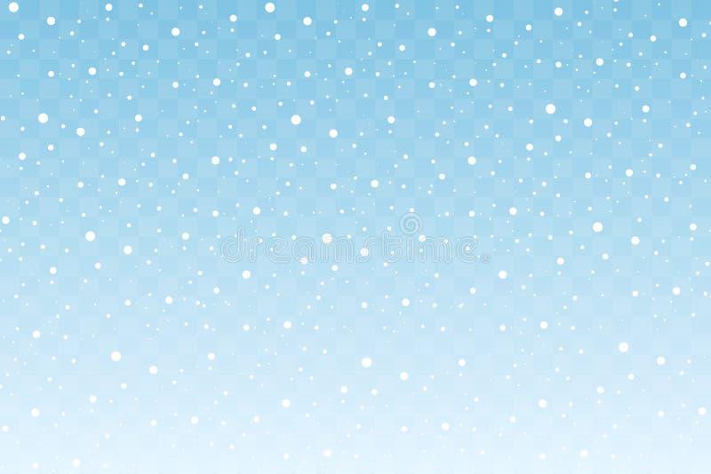Nieve que cae aislada en fondo transparente azul Decoración de la Navidad y del Año Nuevo Vector stock de ilustración