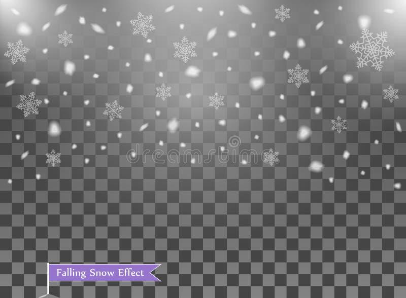 Nieve que cae, elementos al azar Año Nuevo, capa de la decoración de la Navidad Ejemplo del vector en fondo transparente aislado ilustración del vector