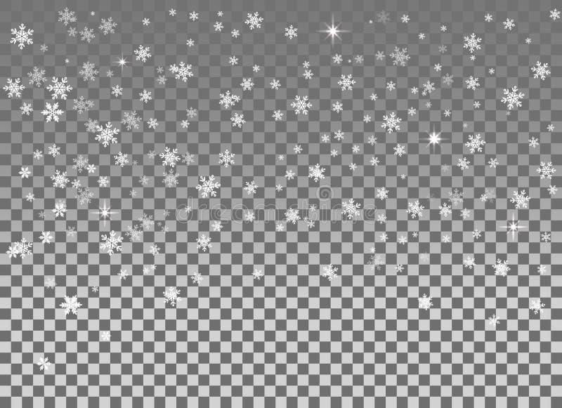 Nieve que cae en un fondo transparente ilustración del vector