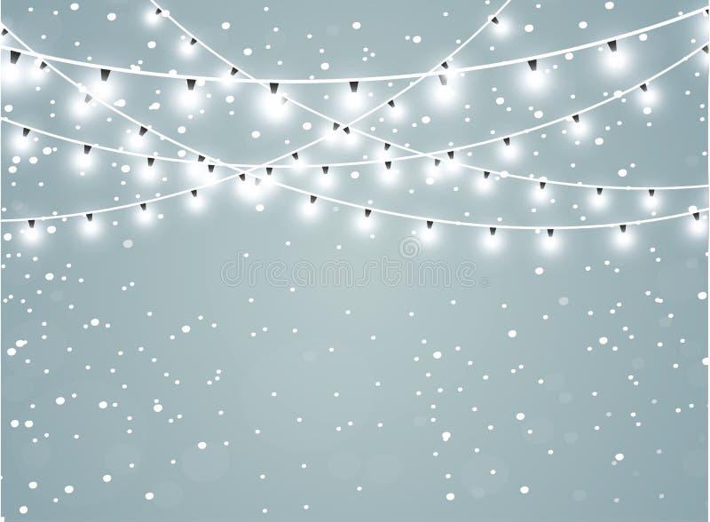 Nieve que cae en un fondo transparente de la chispa Fondo abstracto del copo de nieve Ilustración del vector ilustración del vector