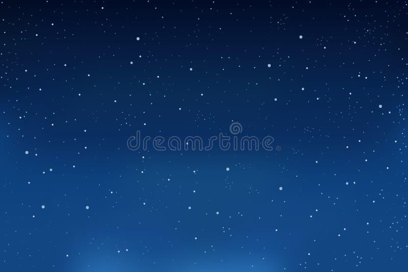Nieve que cae, fondo azul del invierno Copos de nieve en el cielo Vector ilustración del vector