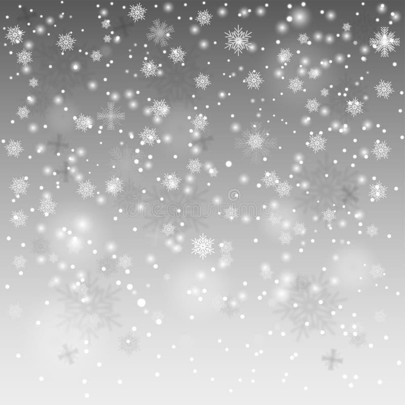 Nieve que cae, fondo volumétrico realista con los copos de nieve del vuelo ilustración del vector