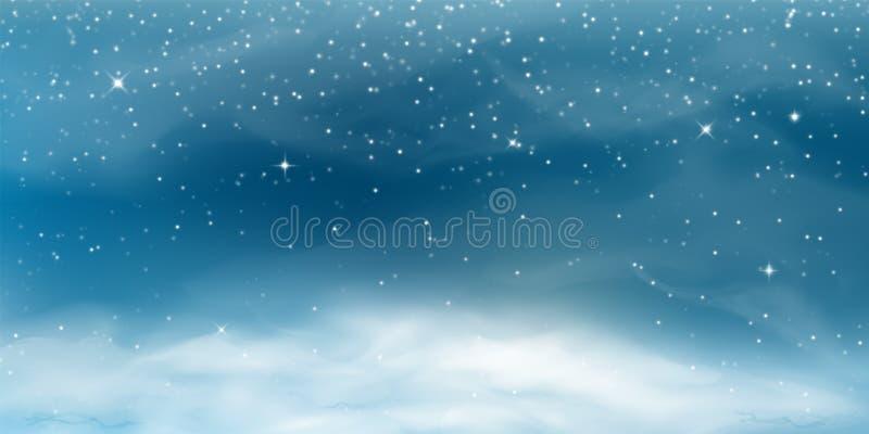 Nieve que cae Paisaje de la Navidad del invierno con el cielo frío, ventisca ilustración del vector