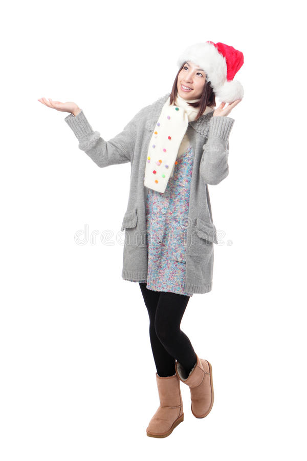 Nieve que espera de la mujer de Navidad fotografía de archivo libre de regalías