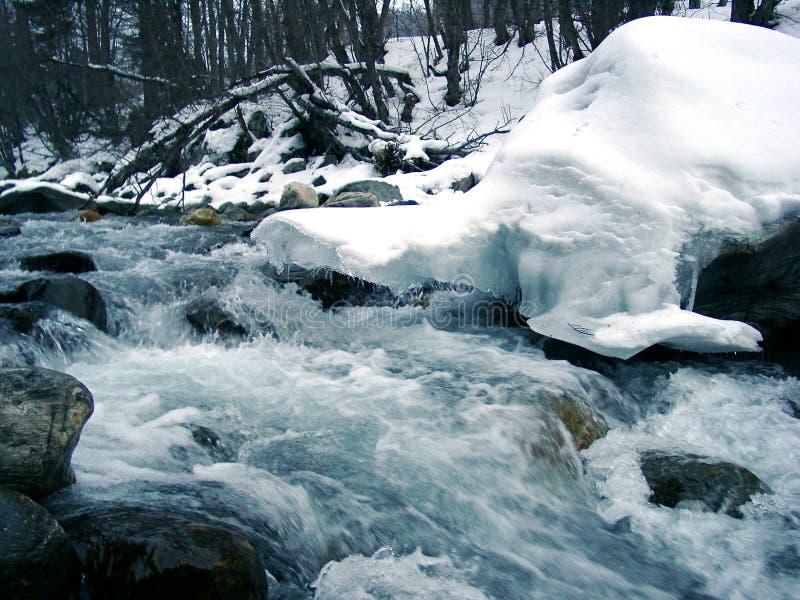 Nieve sobre el río fotos de archivo libres de regalías