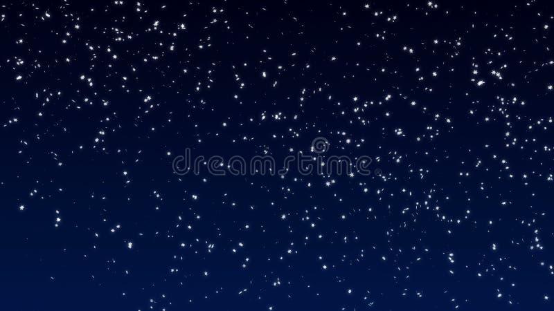 Nieve suavemente que cae Copos de nieve grandes y pequeños que caen lentamente en el viento ilustración del vector